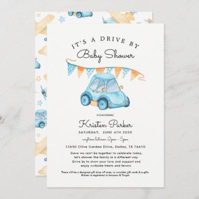 Blue Car Drive By Baby Shower Invitation Boy
