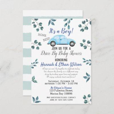 Blue Car & Greenery Drive By Baby Shower Parade Invitation