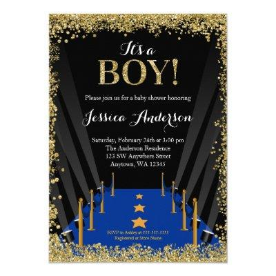 Blue Carpet Hollywood Faux Glitter Boy Baby Shower Invitations