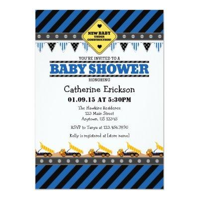 Blue Construction Baby Shower Invitations