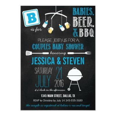 Blue Couples Baby Shower BBQ Invitations