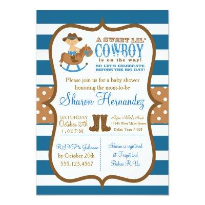 Blue Cowboy Baby Boy Shower Invitations Striped