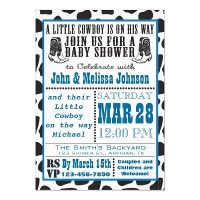 Blue Cowboy Cowprint Baby Shower invitations