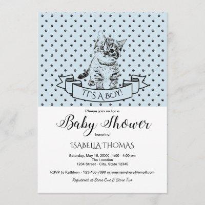 Blue Cute Kitten Baby Shower Invitation