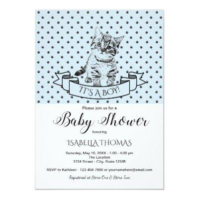 Blue Cute Kitten Baby Shower Invitation
