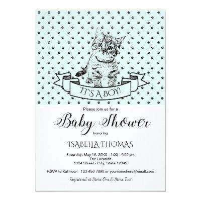 Blue Cute Kitten Baby Shower Invitations