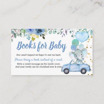 Blue Drive Through Boy Baby Shower Books For Baby Enclosure Card