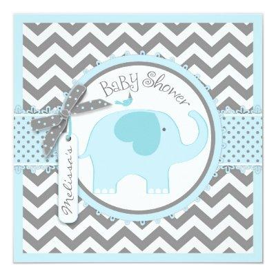 Blue Elephant and Chevron Print Baby Shower Invitation