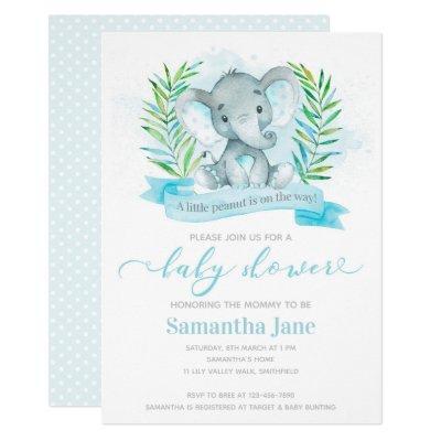 Blue Elephant Baby Shower Invitation