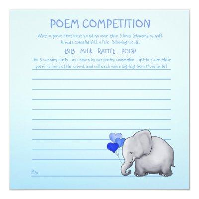 Blue Elephant Baby Shower Poem Competition Game Invitations