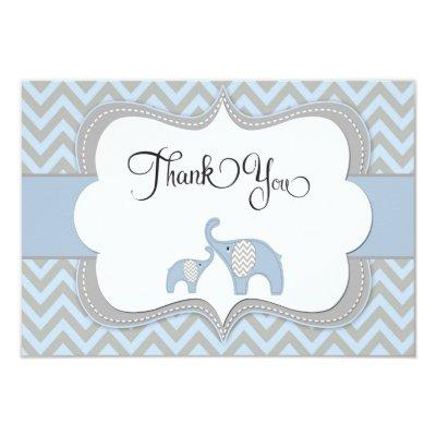 Blue Elephant Baby Shower Thank You Invitations