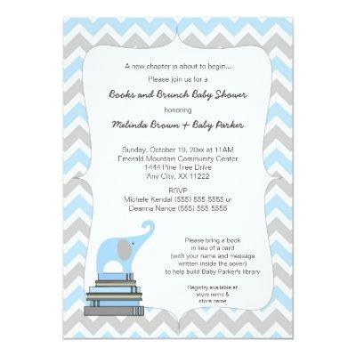 Blue Elephant Book Baby Shower, books and brunch Invitations