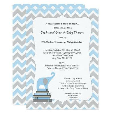Blue Elephant Book Baby Shower, books and brunch Invitation