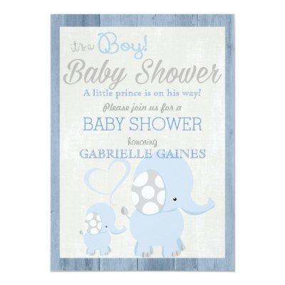 Blue Elephant Boy Baby Shower Country Invitations