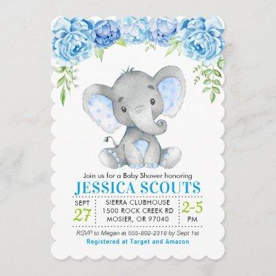 Blue Elephant Boy Baby Shower Sprinkle Invitation