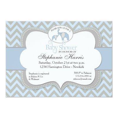 Blue Elephant Chevron Baby Shower Invitations