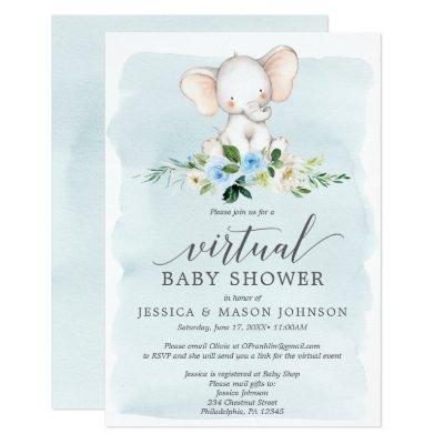 Blue Elephant Virtual Baby Shower Invitation