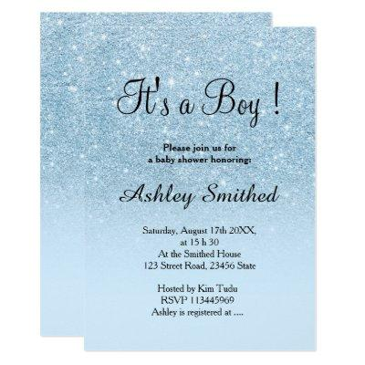 Blue faux glitter pastel ombre boy baby shower invitation