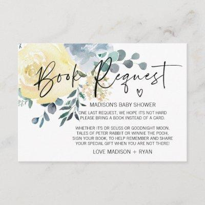 Blue Floral Baby Shower Book Request Card Heart