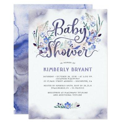 Blue Floral Little Man - Boy Baby Shower Invitation