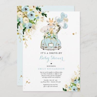 Blue Floral Safari Animals Drive By Baby Shower Invitation