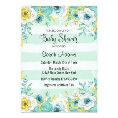 Blue Flowers Baby Shower Invitation