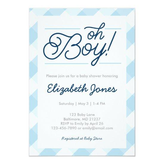 Blue gingham oh boy baby shower invitations blue gingham oh boy filmwisefo Choice Image
