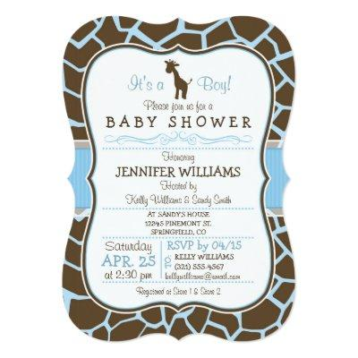 Blue Giraffe Baby Shower Baby Shower Invitations Baby Shower