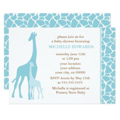 Blue Giraffes Boy Invitations