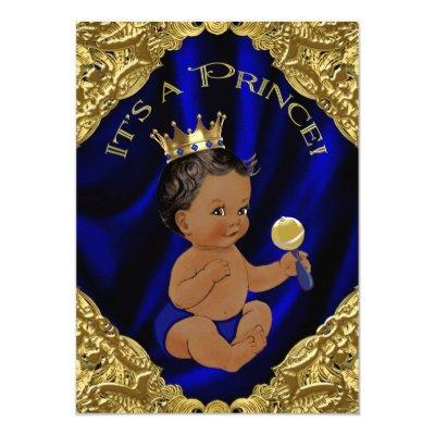 Blue Gold African American Prince Baby Shower Invitations