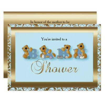 Blue & Gold Damask with Teddy Bear | Baby Shower Invitation