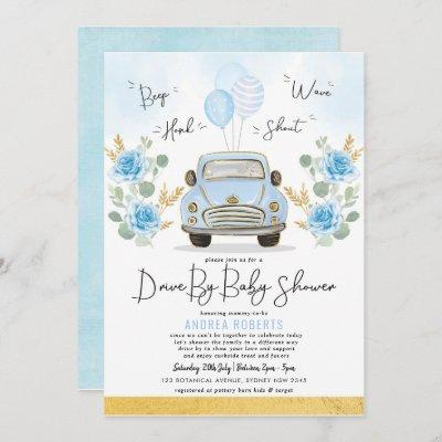Blue Gold Drive By Baby Shower Greenery Retro Car Invitation