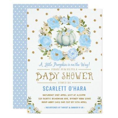 Blue & Gold Floral Pumpkin Baby Shower Invitations