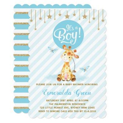 Blue Gold Giraffe Baby Shower Twinkle Star Invite