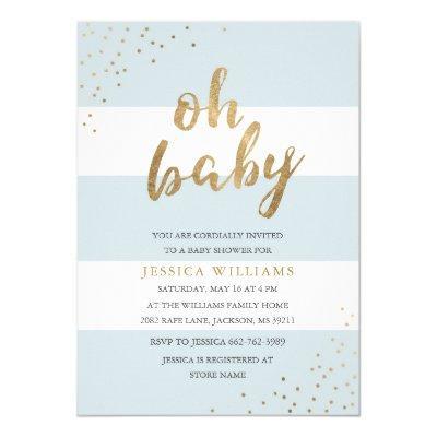Blue & Gold Modern Stripes Oh Baby Shower Invite