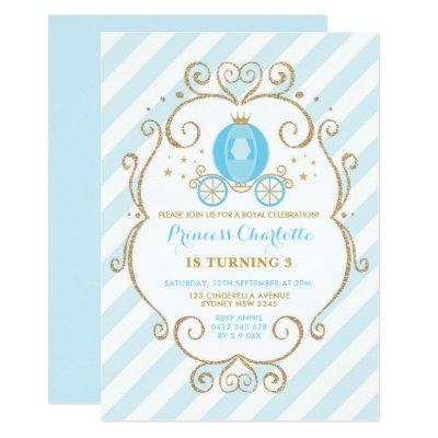 Blue Gold Princess Cinderella Carriage Birthday Invitation