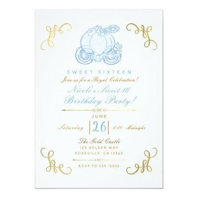 Blue & Gold Pumpkin Carriage Sweet 16 Party Invitation