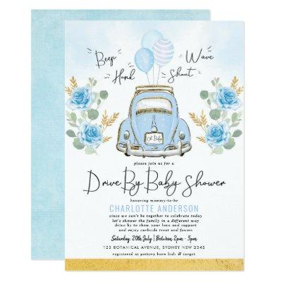 Blue Gold Roses Drive Through Boy Baby Shower Invitation