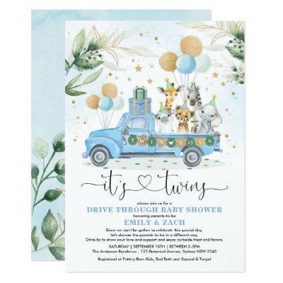 Blue Gold Twin Boys Jungle Drive Thru Baby Shower Invitation