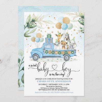 Blue Gold Wild Jungle Animal Sweet Baby Boy Shower Invitation