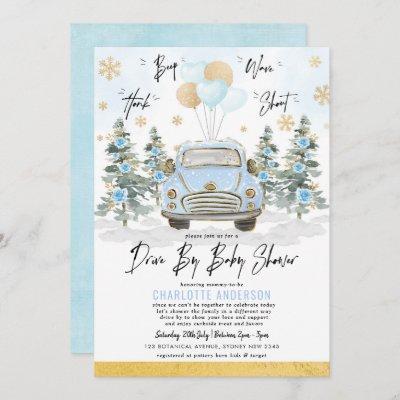 Blue Gold Winter Drive Thru Baby Boy Shower Invitation