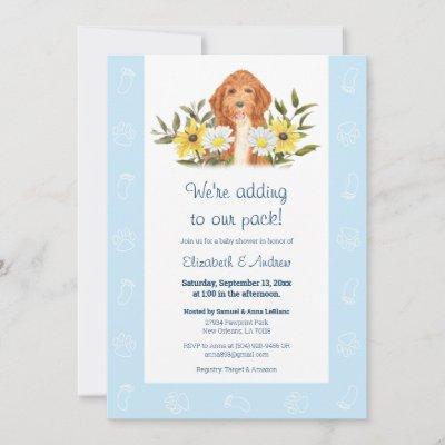 Blue Golden Doodle Dog Baby Shower Invitation