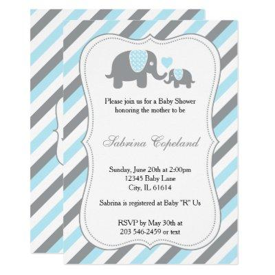 Blue & Gray Stripe Elephant Baby Shower Invitation