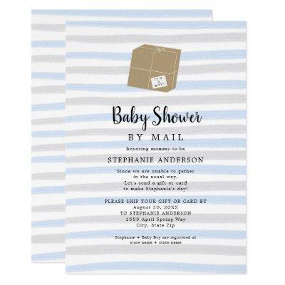 Blue Gray Stripes Boy Baby Shower by mail Invitation