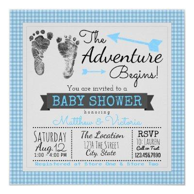 Blue Gray The Adventure Begins Boy Baby Shower Invitations