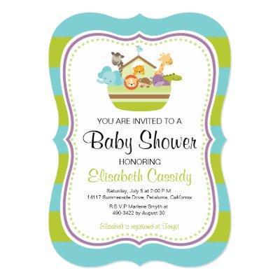 Blue Green, Bracket Noah's Ark Baby Shower Invite. Invitations