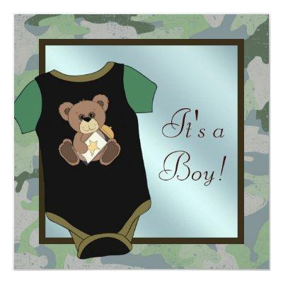 Blue Green Camouflage Baby Boy Shower Invitations