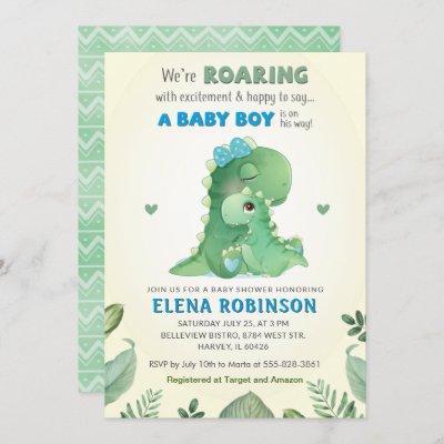 Blue Green Wild Dinosaur Baby Boy Shower Sprinkle Invitation