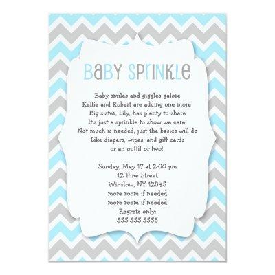 Blue Grey Baby Sprinkle / boy baby shower invite