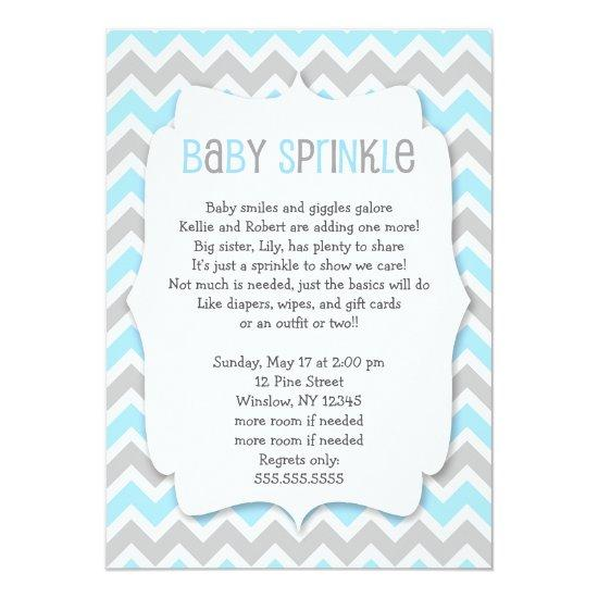 Blue Grey Baby Sprinkle / boy baby shower invite